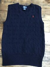 Worn Once Boy's Navy Ralph Lauren Polo Cable Sweater Vest Size Medium M 10-12 MH