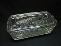 Vintage Federal Glass Ribbed Clear Refrigerator Dish with Lid Vegetable Pattern