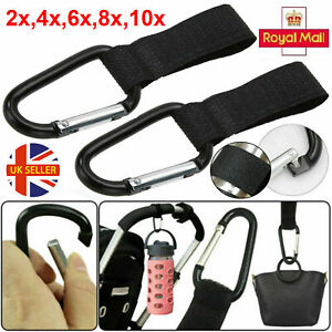 1x/2x/4x Shopping Bag Hooks Stroller Pushchair Buggy Pram Clips Large Hand Carry