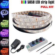 5M 300Leds SMD 5050 RGB Led Strip Light Waterproof + Dimmer Controller+12V Power