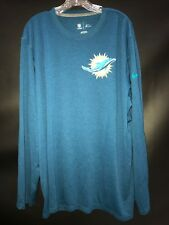 MIAMI DOLPHINS GAME USED NAVY ON FIELD DRI-FIT WORKOUT LONG SLEEVE SHIRT - 2XL