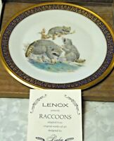 LENOX BOEHM STUDIOS 1973 RACCOONS COLLECTOR PLATE 24 Kt GOLD Ltd 1ST EDITION