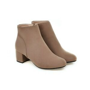 Women Faux Suede Round Toe Grace Side Zip Block Mid Heel Ankle Boots Party Shoes
