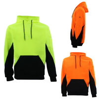 HI VIS Safety Fleece Pull Over Hoodie Jumper Jacket Workwear Kangaroo Pen Pocket