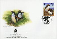 WWF  UCCELLI  FDC ISOLE FALKLAND BUSTA PRIMO GIORNO 2002 PINGUINI 1/4