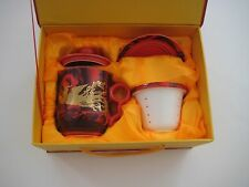 Beautiful Decorative Red/Gold/White Tone Tea Mug Set New in Beautiful Box