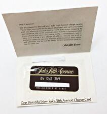 Old Saks Fifth Avenue Charge Credit Card New Original Folder Unsigned Dept Store