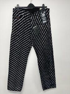 MENS DIESEL STRAIGHT LEG PRINTED BLACK JEANS UK W31 X L32 - 4001