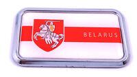 "Belarus Flag rectanguglar  Chrome Emblem 3D Car Decal Sticker 3"" x 1.75"""