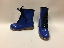New Boxed Ladies Navy Blue Dr.Martins Style Faux Patent Lace up Boots UK 4 EU 37