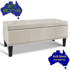 Blanket Box Storage Ottoman Linen Fabric Bed Foot Stool Chest Bench Seat Taupe
