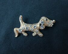 womens jewellery sausage dog Broach pin Badge gold Diamonds New dog pup