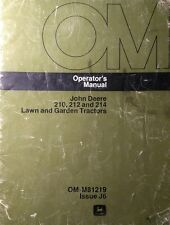 John Deere 200 210  212  214 Lawn Garden Tractor & Implements Owners (5 Manuals)