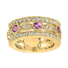 2.14 Carat Natural Pink Sapphire and Diamond Eternity Ring 14K Yellow Gold