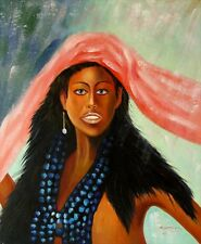"""Oil Painting Hand painted on canvas Stretched - """"African girl""""   size: 20""""x24"""""""