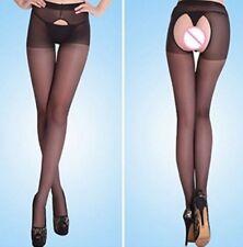 Collants sexy noir ouvert à l'entrejambe devant et derrière, taille S.