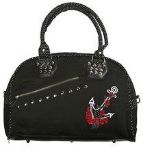 Banned Apparel 50s Rockabilly Polka Dot Anchor Rose Sailor Handbag Shoulder Bag
