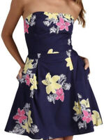 """Lilly Pulitzer NWOT """"Felicity Dress"""" Navy Floral Lady Love Strapless 12"""