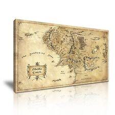 Hobbit Señor De Los Anillos Mapa De Tierra Media LONA pared arte Foto impresión 60x30cm