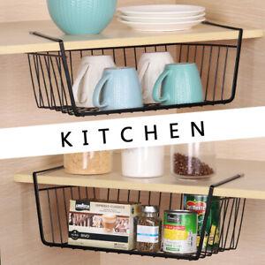 4 of Set Hanging Basket Shelves Spice Rack Over Cabinet  Metal Wire for Kitchen