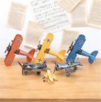 Mini Vintage Metall Flugzeug Modell Flugzeug Segelflugzeug Doppeldecker Flug  fd