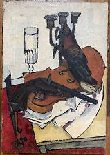 Tableau VENARD Post Cubisme Nature Morte au Violon Peinture de Michel De Alvis