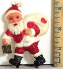 "Euc Vintage Santa Claus w.Toy Bag Plastic Cake Decoration 3.5"" x 2.75"" Christmas"