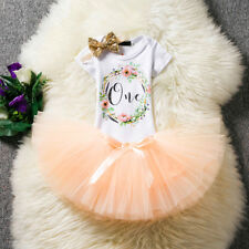 Baby Girl First 1st Birthday Cake Smash Outfit Pink Tutu Skirt Headband Set 3pcs