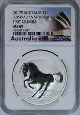Australia 2017 1 Oz .999 Silver Australian Stock Horse NGC MS 69 First Releases