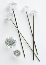 100 x Clear Diamante 6mm Pins Weddings Buttonholes Bridal Bridesmaid