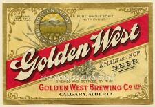 Print. 1911. Calgary, Alberta. Beer Label - Golden West Brewing co. Ltd.