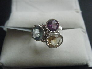BLUE TOPAZ, AMETHYST AND CITRINE SILVER RING 6.60 CTW