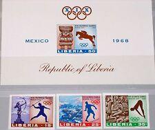 LIBERIA 1968 706-08 B Block 46 B 483-85 C181 Olympics Mexico Statue Pyramid MNH