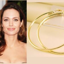 "2 3/4"" 70mm Gold Plated Large HOOP Round Circle Hollywood Celebrity Earrings New"