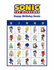 Sonic the Hedgehog Personalized Birthday Party Game Bingo Cards