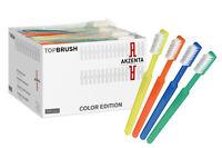 100 TOP BRUSH  Einmalzahnbürsten 4 Farben gemischt mit Zahnpasta Akzenta