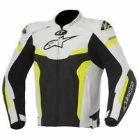 Alpinestars GP Pro Leather Sport Motorcycle/Motorbike Jacket - White-Yellow