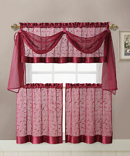 VCNY Home Linen Leaf Embroidered Complete Kitchen Curtain Set - Assorted Colors