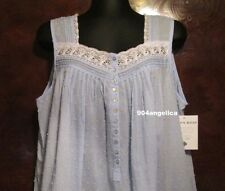 EILEEN WEST SLEEVELESS SHORT COTTON LAWN GOWN BLUE LARGE NWT