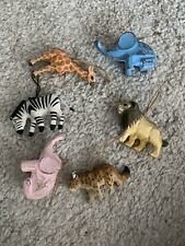 Set of 6 Wildlife Wooden Animals Christmas Ornaments