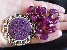 Beautiful Vintage Antique Purple Stone Jewelry Necklace rhinestones unique lady