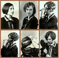 "1920s girl curling her hair salon 12 x 12"" Photo Print"