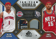 2009-10 Vince Carter Allen Iverson SP Game Used Tag Team Duals PATCH #3/10 SSP