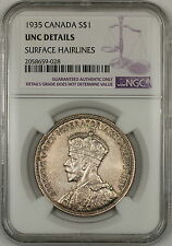 1935 Canada Silver $1 Dollar Coin NGC UNC Details Surface Hairlines (B)