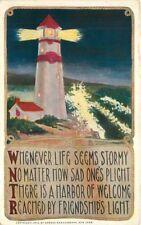 Arts Crafts 1912 Light House Saying postcard Artist impression 4818