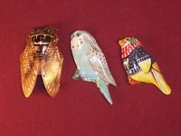 3 Vintage Tin Litho Pin Brooch Japan Bird Bug Lot