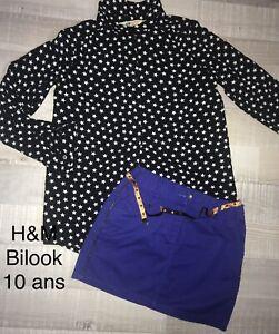 H&M Bilook 10 ANS FILLE / Chemise Coton Étoiles + Jupe CeinTure Étoiles Été TBE