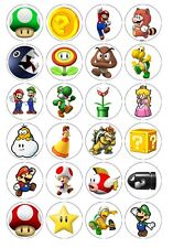 24 x Super Mario Brothers Edible Cupcake Toppers Pre-Cut