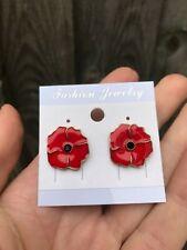 Fashion costume jewellery red poppy earrings stud 1.5/1.5cm