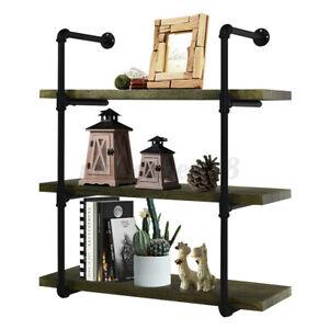 3-Tier Iron Industrial Pipe Shelving DIY Shelf Bookshelf Bracket Organizer Rack